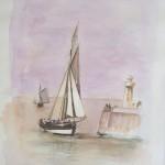 Voilier au port Aquarelle / 50 cm x 66 cm