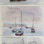 Trilogie marine Aquarelle / 32 cm x 70 cm