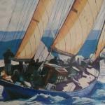 Peinture à l'huile Voilier goelette St Tropez