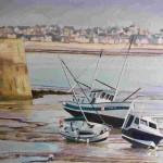 peinture à l'huile bateau échoué Granville