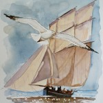 Lugger downwind Watercolour / 24 cm x 18 cm