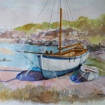 Barque échouée Aquarelle