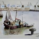 Voiliers au port Aquarelle /